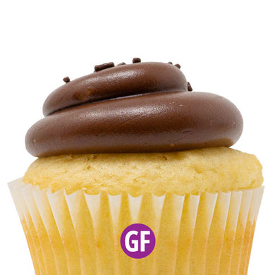 Gluten-Free - White with Chocolate Fudge Cupcake