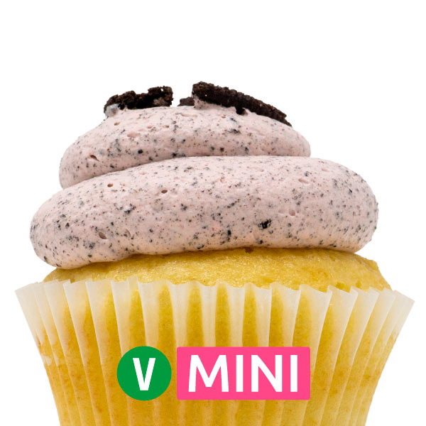 Vegan White with Strawberry Oreo Mousse Mini Cupcakes - Dozen