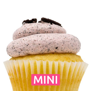 White with Strawberry Oreo Mousse Mini Cupcakes - Dozen