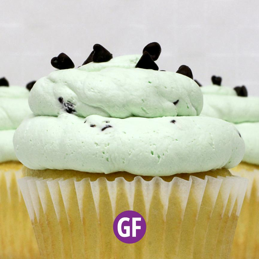 Gluten-Free - White with Mint Chip Mousse Cupcake