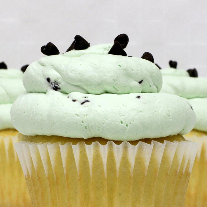 White with Mint Chip Mousse Cupcake