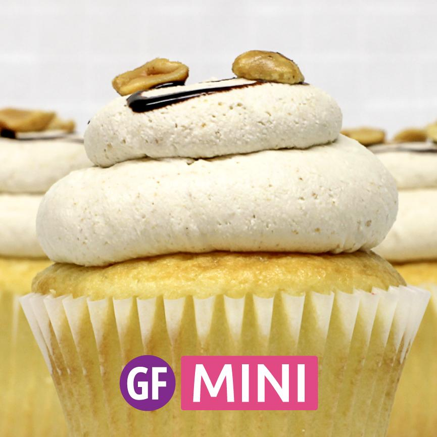 Gluten-Free - White with Peanut Butter Mousse Mini-Cupcakes - Dozen