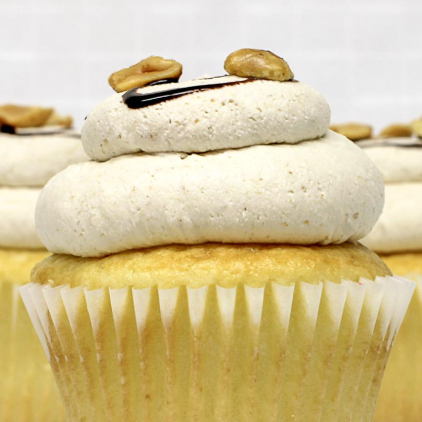 White with Peanut Butter Mousse Cupcake
