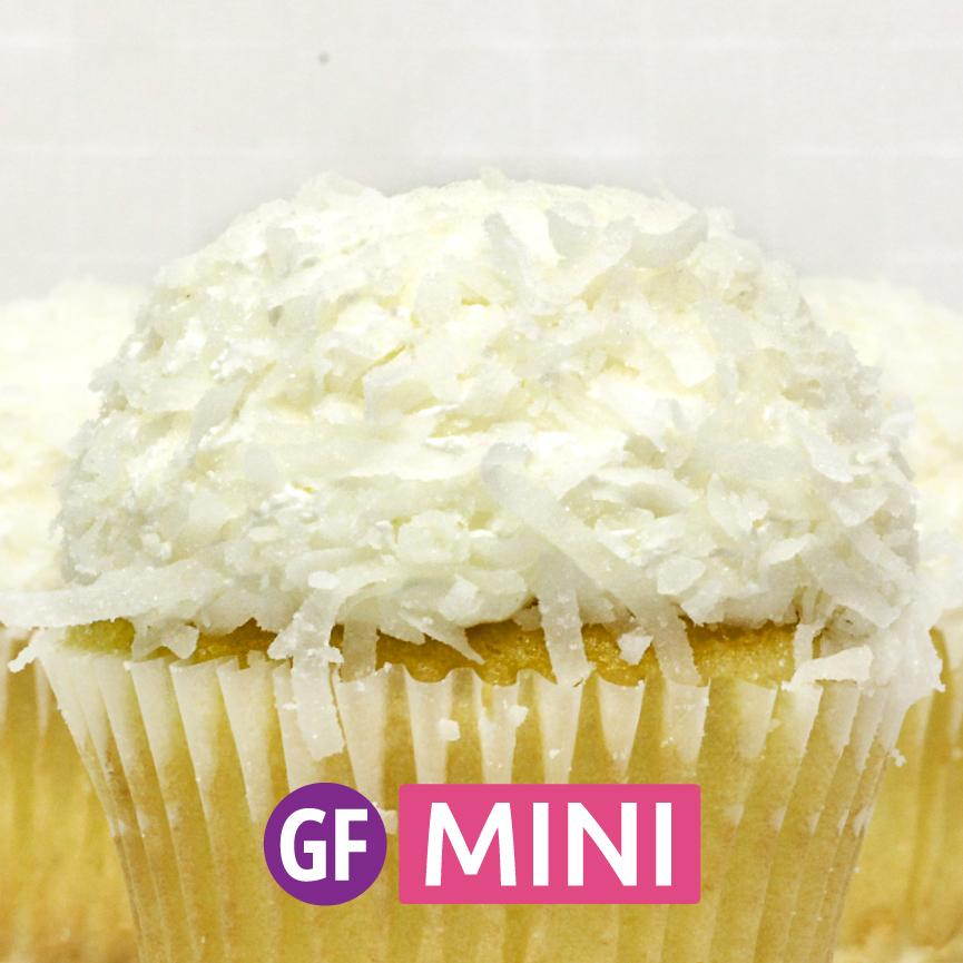 Gluten-Free - White with Coconut Mini Cupcakes - Dozen