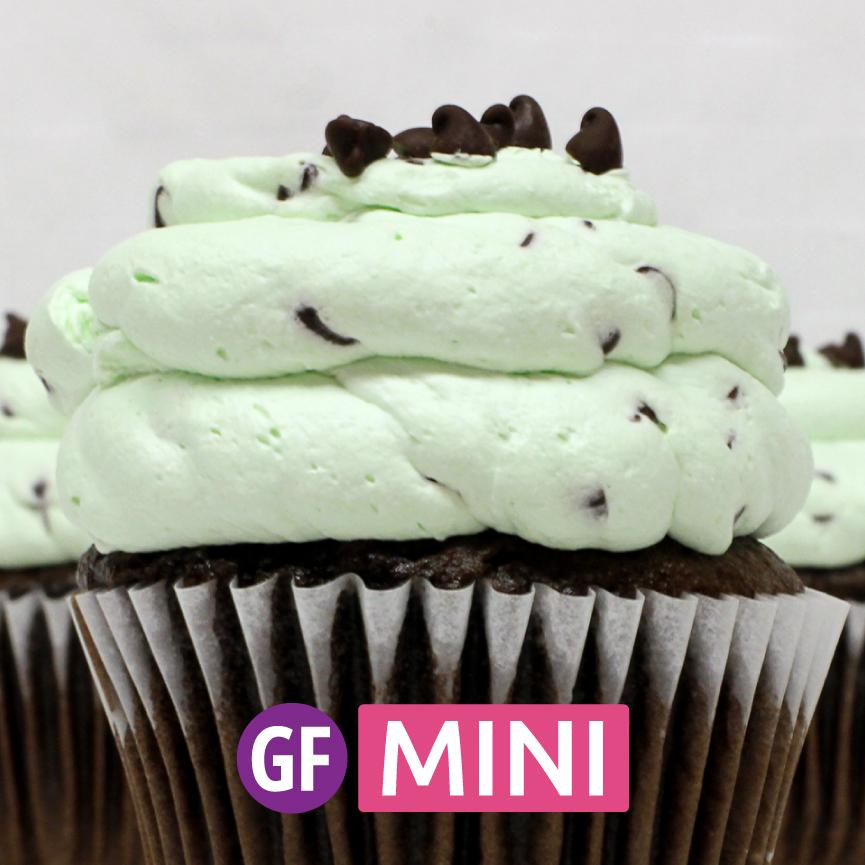 Gluten-Free - Chocolate with Mint Chip Mousse Mini Cupcakes - Dozen