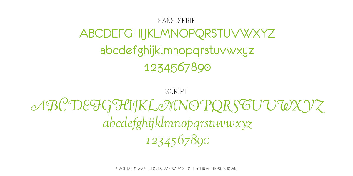 Font examples for foil stamping on an Album Envy photo book.
