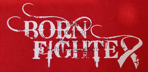 Born Fighter Cancer Warrior Long Sleeve T-Shirt (2XL-5XL)