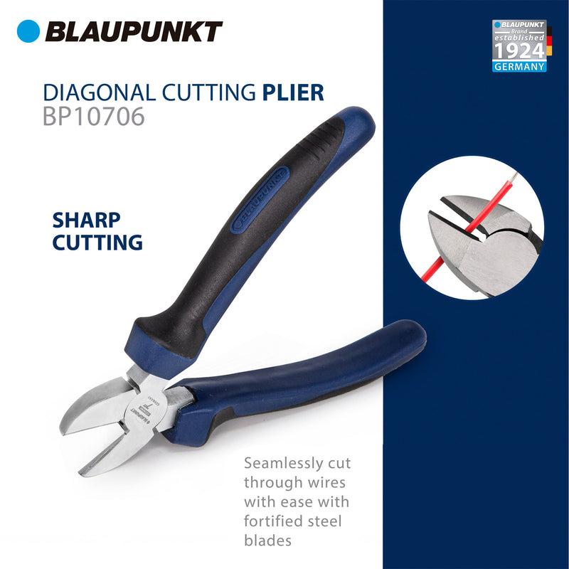Alicates de corte diagonal Blaupunkt BP10706 - 170 mm - Mango de confort bimaterial