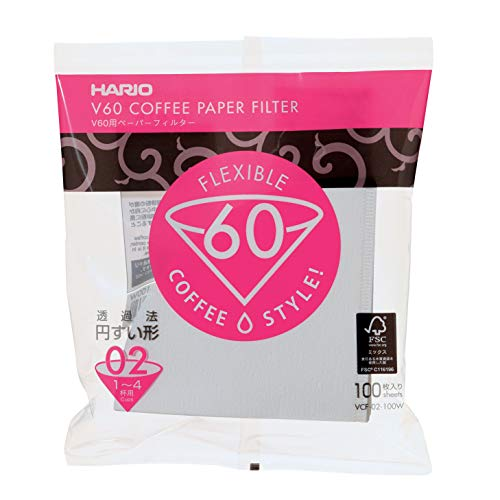 Hario V60 Paper Coffee Filters, Size 02, 100 Count, White