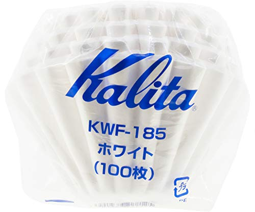 Kalita Wave Paper Coffee Filters I Larger Size 185 I 100 Count I Specially Pour Over Dripper I Made in Japan, Large, White