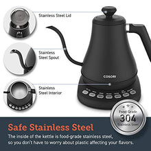 Load image into Gallery viewer, COSORI Electric Gooseneck Kettle with 5 Variable Presets, Pour Over Coffee Kettle & Tea Kettle, 100% Stainless Steel Inner Lid & Bottom, 1200 Watt Quick Heating, 0.8L, Matte Black
