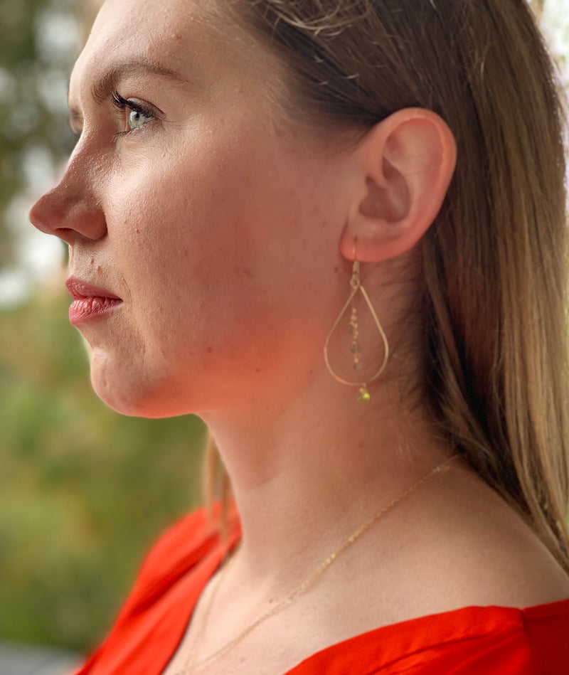 Aquamarine Chalcedony Teardrop Earrings