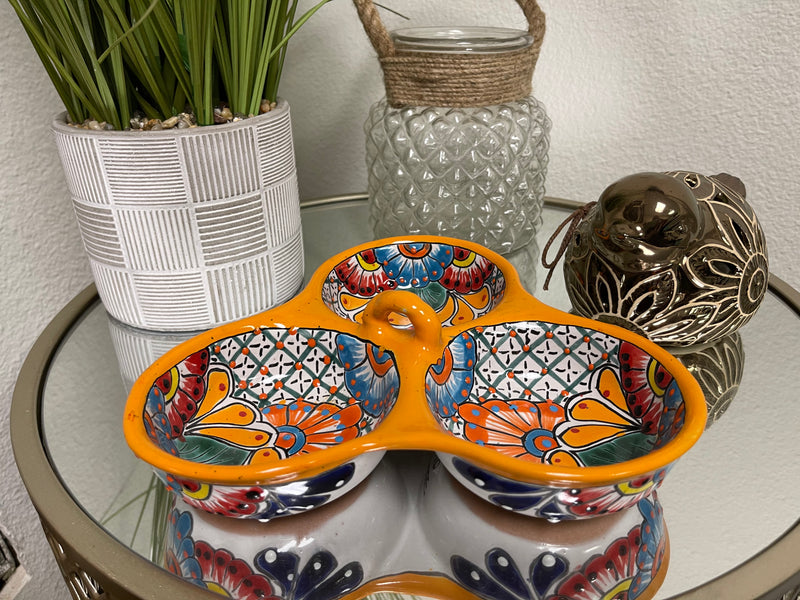 Talavera Poblana Three-Way Dipping Dish