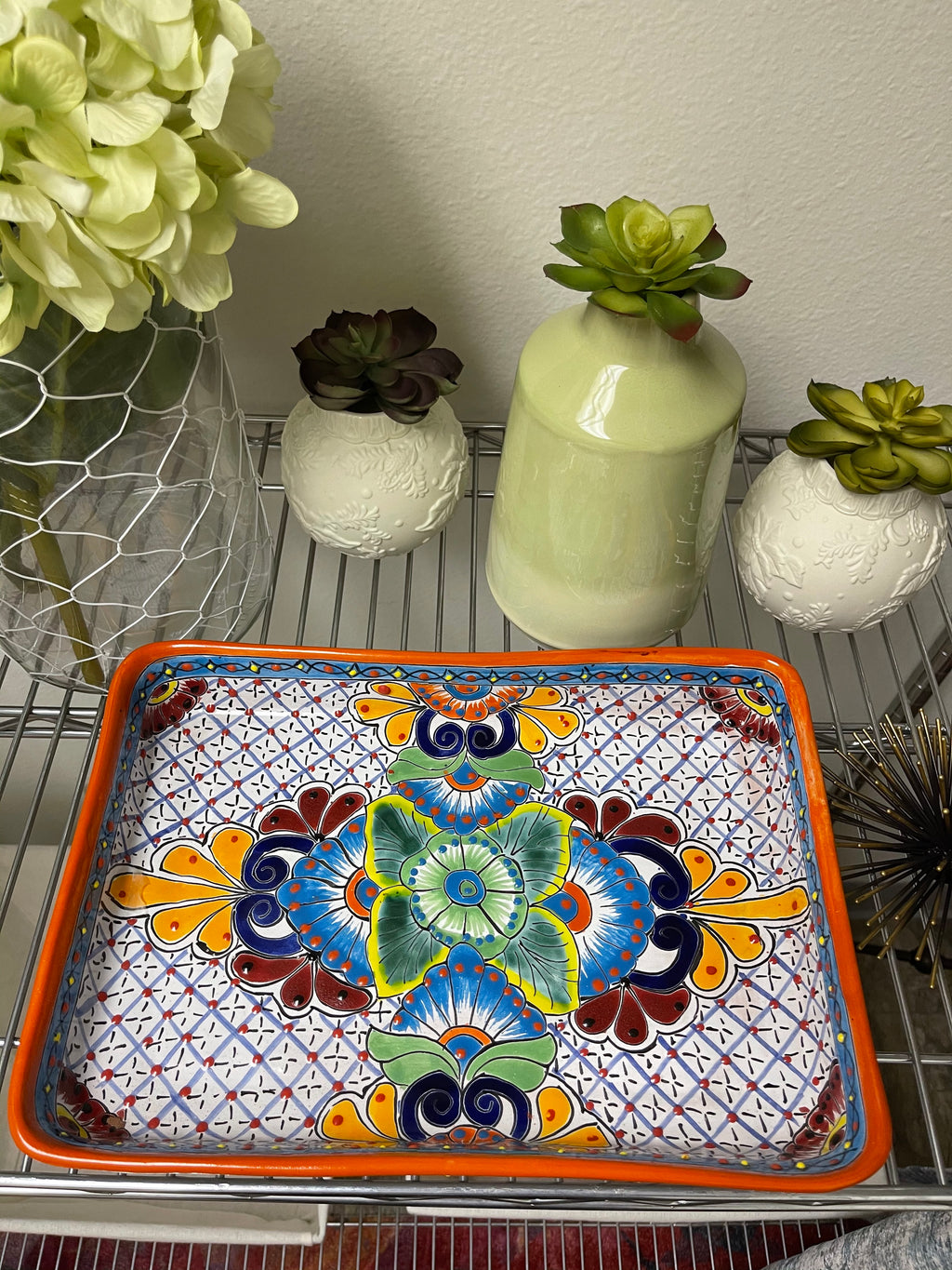 Talavera Poblana Large Rectangular Serving Dish