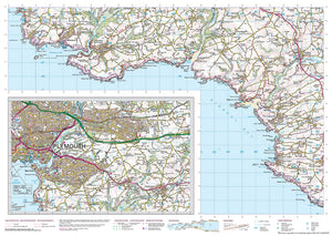 scanned image of Dartmouth Walks to Plymouth - South West Coastal Waking & Cycling Map