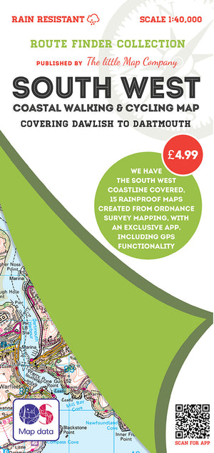 scan of Dawlish Map to Dartmouth - South West Coastal Waking & Cycling Map walks