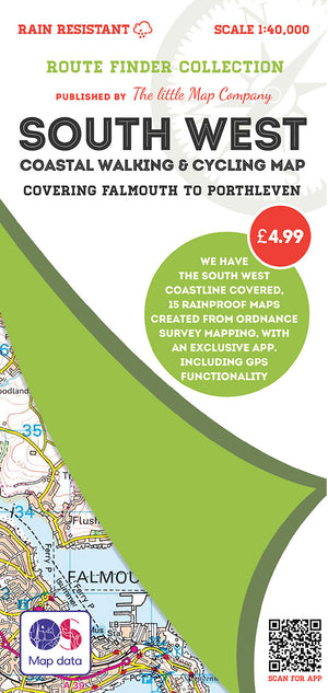 scan of Falmouth Map to Porthleven - South West Coastal Walking & Cycling Map trails