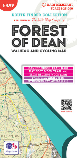 scan of Forest of Dean Map With Walking and Cycling Routes trails