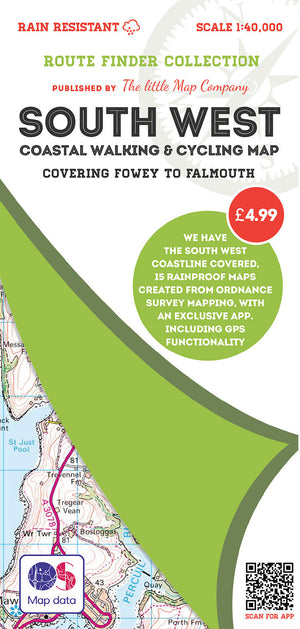 scan of Fowey Walks to Falmouth - South West Coastal Walking & Cycling Map trails
