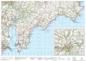 scanned image of Fowey Walks to Falmouth - South West Coastal Walking & Cycling Map