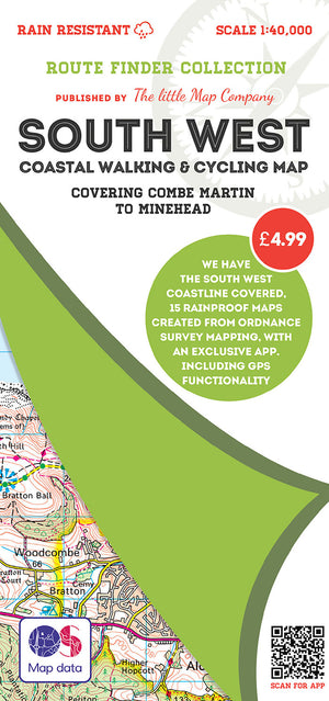 scan of Combe Martin to Minehead Map - Coastal Walking and Cycling Map trails