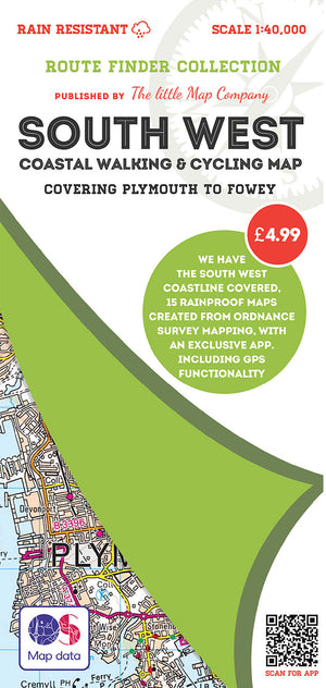 scan of Plymouth Map to Fowey - South West Coastal Walking & Cycling Map trails