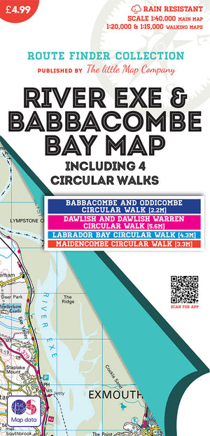 scan of River Exe & Babbacombe Bay Map including 4 Circular Walks