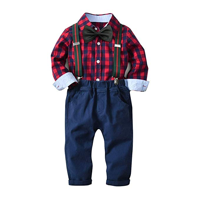 d310ca2f4 Yilaku Baby Boy Clothes Long Sleeve Shirts + Suspender Pants Set 2pcs