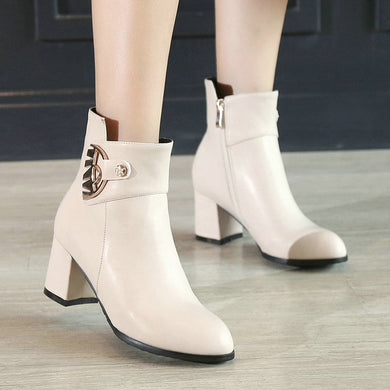 6b9fc064d5 Women Thick High Heel Ankle Boots Fashion Pointed Toe Winter Casual Shoes  Woman White Black Beige