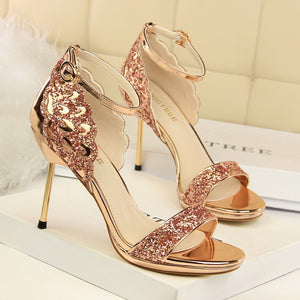 e87d1ee3b48 Summer high heels sandals women luxury bling fashion platform open toe sexy stiletto  party ladies shoes big size sandalias mujer