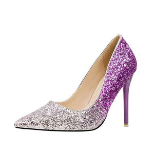 77d3b30ae Luxury Brand Women s Sexy Gradient Color Nightclub High Heels Women Pumps  Stiletto Thin Heel Pointed Toe Sequined Wedding Shoes