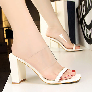 6e2373783e318 Summer Luxury Women Fashion Thick High Heels White Slides Mules Ladies Peep  Toe Block Heels Slipper