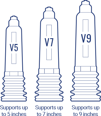 Size Chart for Vaxaid Deluxe Pump : V5 Supports up to 5 inches, V7 Supports up to 7 inches and V9 Suports up to 9 inches