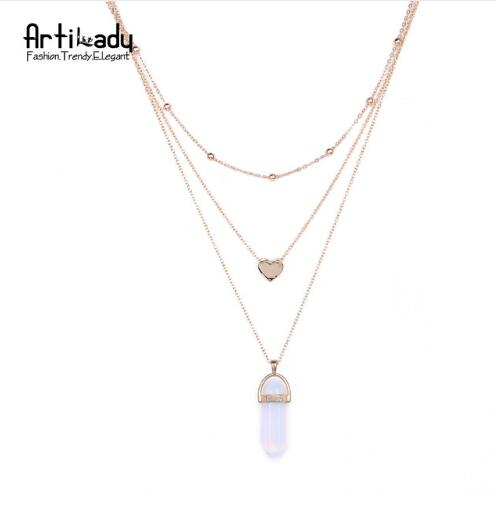 Artilady 3 layer opal pink stone necklace heart with multi stone
