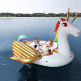 Inflatable Giant White Gold Winged Unicorn Float 6-8 Person Raft