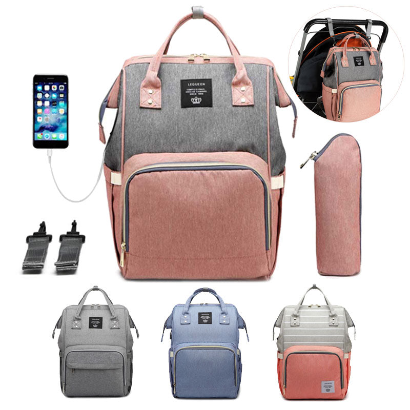 Multifunctional Baby Diaper Bag Backpack With USB Charging & Bottle Warmer