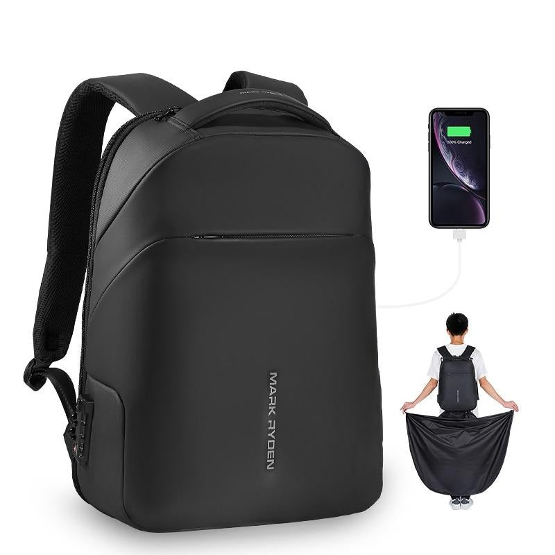 Anti-theft Waterproof Smart Backpack with Built-in Raincoat 15.6 inch Laptop Bag