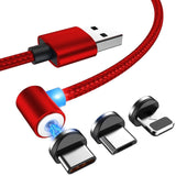 3-IN-1 MAGNETIC CABLE CHARGER - MICROUSB TYPE C LIGHTNING CORD FAST ADAPTER