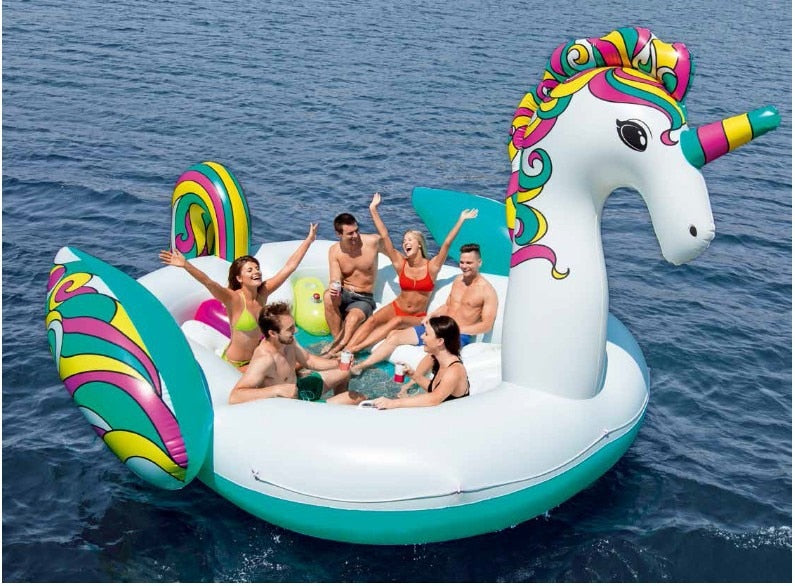 6 Person Inflatable Giant Unicorn Horse Pool Float Island