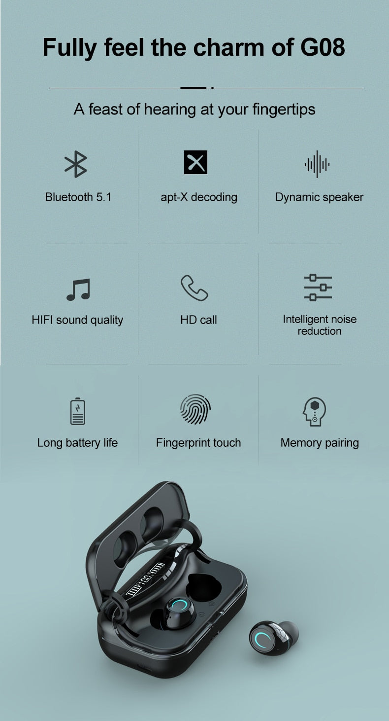 HIFI WATERPROOF TOUCH CONTROL HEADSET - BLUETOOTH 5.0 EARPHONES WIRELESS EARBUDS