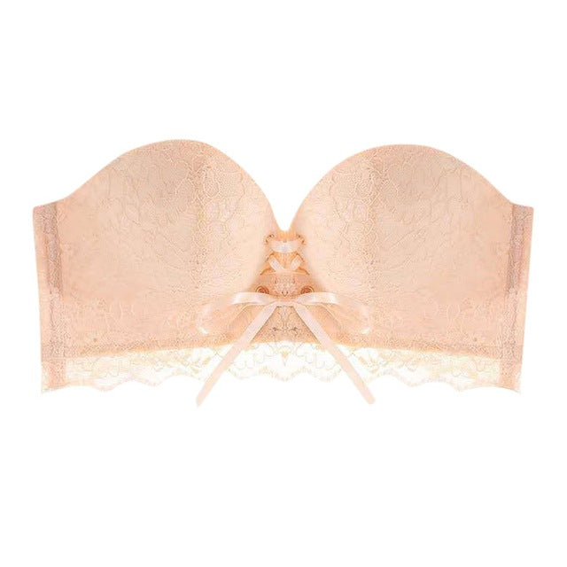 Lace Strapless Drawstring Bandeau