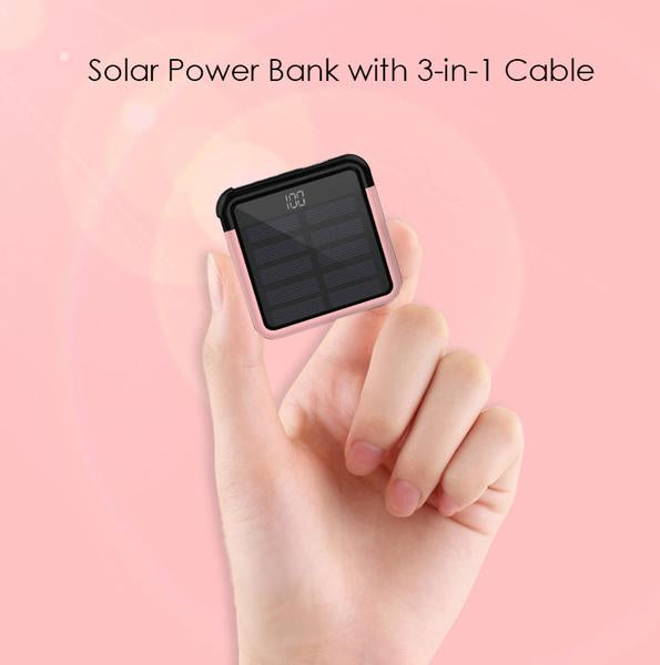 Tiny Solar Power Bank with 3-in-1 Concealable Cable