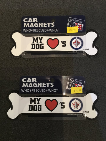 My Dog Heart's Jets Car Magnet