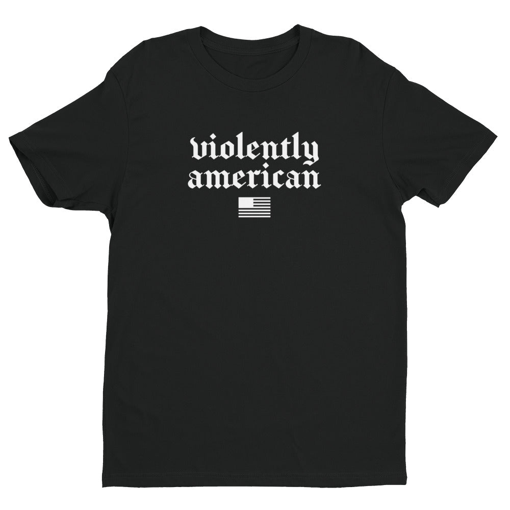Violently American Black/White Premium Short Sleeve T-shirt | NoQuarter.us