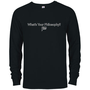 CustomCat Apparel 97100 Delta French Terry Crew / Black / S whats your philosophy merged and stroked Men's Basic Crew Neck