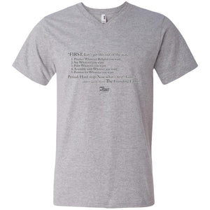 CustomCat Apparel 982 Anvil Men's Printed V-Neck T-Shirt / Heather Grey / S Casual Constitution