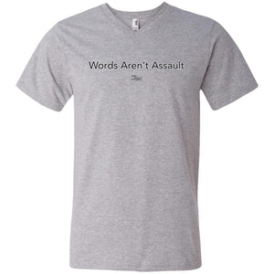 CustomCat Apparel 982 Anvil Men's Printed V-Neck T-Shirt / Heather Grey / S words arent assault merged and stroked