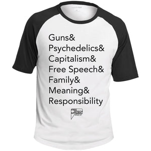 CustomCat Apparel T201 Sport-Tek SS Colorblock Raglan Jersey / White/Black / S list guns and psychedelics merged and stroked Men's Baseball Tee-Shirt