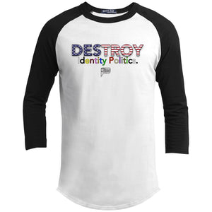CustomCat Apparel YT200 Sport-Tek Youth Sporty T-Shirt / White/Black / YS Destroy Identity Politics 2.0