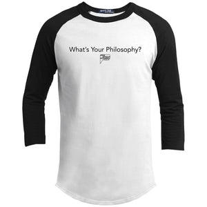 CustomCat Apparel YT200 Sport-Tek Youth Sporty T-Shirt / White/Black / YS whats your philosophy merged and stroked Men's Raglan Baseball Shirt